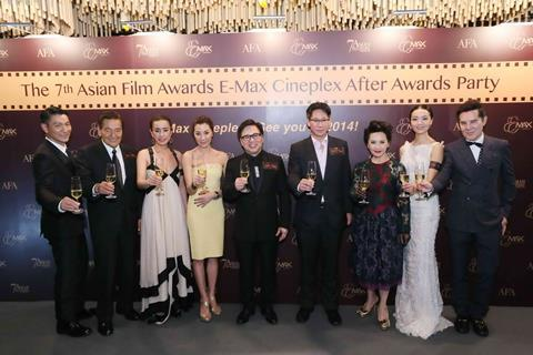 Mr Wilfred Wong, Chairman, HKIFFS, Stuart Wang, Director of Entertainment and Branded Ventures of Hopewell Asset Management Ltd., presenters and winners toast at the Asian Film Awards After Awards Party supported by E-Max Cineplex.